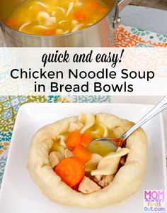 Chicken Noodle Soup in Bread Bowls - Quick and Easy Dinner Recipe - How to make Bread Bowls out of Refrigerated Bread Dough, it's basically instant fresh French bread bowls! Best Soup Recipes, Chowder Recipes, Top Recipes, Easy Dinner Recipes, Chicken Recipes, Chicken Ideas, Good Food, Yummy Food, Bread Bowls