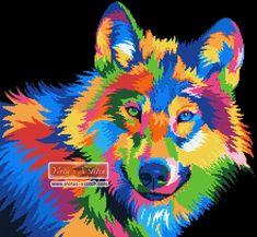 Rainbow abstract wolf cross stitch kit