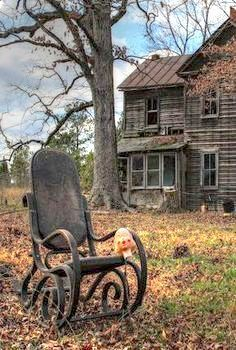 Makes one wonder who was in that chair when they up and walked away – architecture Old Abandoned Buildings, Abandoned Property, Abandoned Mansions, Old Buildings, Abandoned Places, Spooky Places, Haunted Places, Creepy Houses, Old Farm Houses