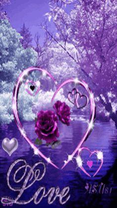 Love - Purple Roses in Purple Heart Purple Love, All Things Purple, Purple Rain, Shades Of Purple, Corazones Gif, I Love Heart, Heart Images, Glitter Graphics, Beautiful Gif