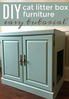 TOTAL Makeover! Make your own cat litter box furniture with this easy tutorial. It's a DIY your furry family members will appreciate. Get a great idea of what to feed your cats, too!