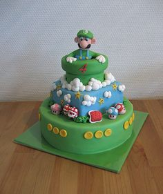 I know a certain boy turning 6 soon who would love this cake Supermario Luigi Cake by ~Naera on deviantART