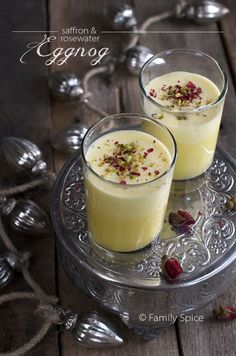 Persian Eggnog with Saffron and Rosewater tastes just like melted Persian ice cream, but with a little kick! by Familyspice.com #saffron #persian #persianrecipe #rosewater #eggnog