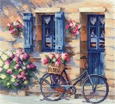 New Unopened Modern Cross Stitch Embroidery Kit - House Facade, Summer Atmosphere, Flower Porch, Gif Embroidery Kits, Cross Stitch Embroidery, Cross Stitch Patterns, Cross Stitches, Bicycle Painting, Bicycle Print, Counted Cross Stitch Kits, Modern Cross Stitch, Art Plastique