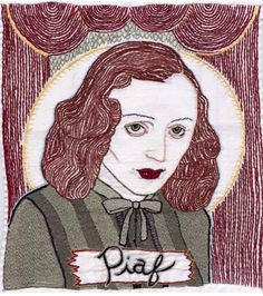 """""""Piaf"""" 2002, hand-embroidery on cotton,   18"""" x 20"""",  by Jenny Hart."""