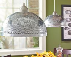 DIY options for pendant lamps lampshades-buy a stainless bowl & use your Dremel to carve out design!