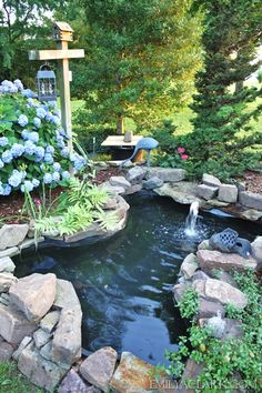Backyard pond with landscaping