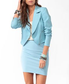 1.19.13: We're loving the pastels these days, especially this color here. Throw it on a cropped blazer like this and you're ready to go! And who needs to spend a ton? This is all Forever 21, baby!