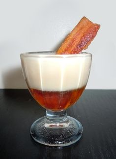 Maple Bacon Donut Shooter...  We bring you a liquid version of the popular Maple Bacon Donut. It's a shorter version of a cocktail. Bacon in a shot glass!  #picsandpalettes #cocktail #baconfreak