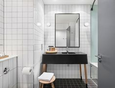 Beautiful bathroom materials palette. Ace Hotel Shoreditch by Universal Design Studio