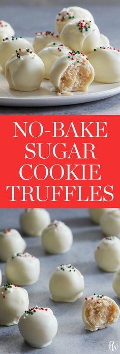 No-bake sugar cookie truffles. Get the recipe. #truffles #sugarcookies #desserts #holidaydesserts