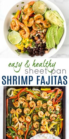 Sheet Pan Shrimp Fajitas A Healthy One Sheet Pan Shrimp Fajita Recipe that has epic flavor and made in 15 minutes! These Paleo Shrimp Fajitas use minimal ingredients and have fast clean up. A dinner time must have! Shrimp Fajita Recipe, Shrimp Fajitas, Seafood Recipes, Paleo Recipes, Mexican Food Recipes, Dairy Free Shrimp Recipes, Healthy Shrimp Recipes, Frozen Shrimp Recipes, Good Healthy Recipes