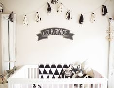 Black and White Nursery. This adorable black & white nursery has an abundance of black & white patterns stuffed animals wall art and no shortage of design! Nursery Themes, Nursery Room, Girl Nursery, Nursery Decor, Nursery Ideas, Room Ideas, Black White Nursery, Black And White Baby, White Crib Bedding