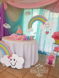 - - - RAIN OF LOVE... BIRTHDAY THEME‼️‼️‼️ Happy Birthday Girls, Girl Birthday Themes, Rainbow Birthday Party, Rainbow Theme, Rainbow Baby, Birthday Parties, Rain Baby Showers, Baby Shower Parties, Baby Shower Decorations
