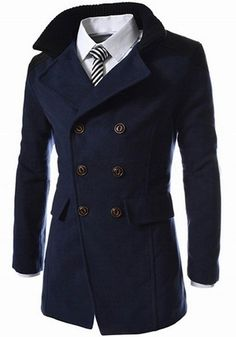 Slimming Stand Collar Inclined Top Fly Color Spliced Flap Pocket Long Sleeves Peacoat For Men