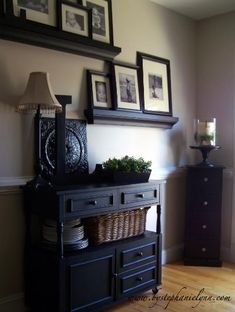 dining rooms, display photos, living rooms, dine room, gallery walls, shelv, picture frames, black furniture, entryway