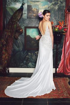 anna georgina 2015 bridal spagetti strap v plunging neckline floral embroidery bodice sheath wedding dress irene back view 2015 Wedding Dresses, Wedding Gowns, Wedding Bridesmaids, Bridesmaid Dresses, Romantic Wedding Inspiration, Wedding Ideas, Anna, Fit And Flare Wedding Dress, Bridal Collection