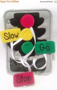 VALENTINE SALE Felt  traffic light quiet book page children practice matching light colors with words