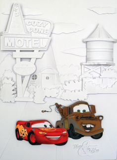 Cars (Carros) - /paper Sculpture by Vlady and Helena Keiko - Exposição Disney in Paper