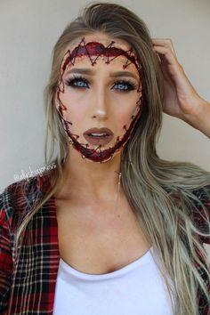 Bruised and Stitched Face Easy Halloween Makeup