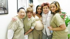 Orange is the New Black Cast (L-R: Lori Tan Chinn, Annie Golden, Jessica Pimentel, Kate Mulgrew, and Dascha Polanco)