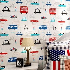 Cartoon Cars papel de parede infantil Wallpaper for Boys Kids Room Mural Child 10m DZK27 US $42.00