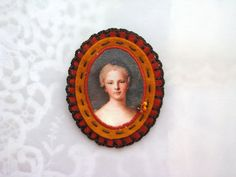 felt orange and rust brooch - cameo style brooch- chocolate brown accents - free shipping - victorian style brooch - lady portrait