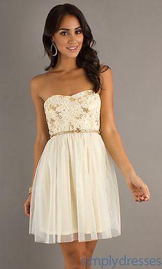 Short Strapless Dress at SimplyDresses.com