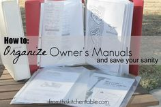 Genius way to organize all your owner's manuals/receipts/warranty info. You can find what you need in seconds!
