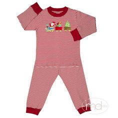 db2521498d2 Squiggles by Charlie Boy s Santas Train Red Stripe Christmas Set from  Madison-Drake Children s Boutique