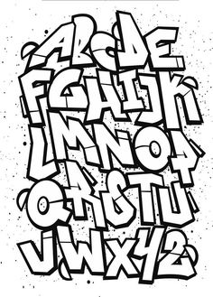 Briefvorlagen für Graffiti - volles Alphabet - Lettering To Try - Grafitti Grafitti Alphabet, Graffiti Alphabet Styles, Graffiti Lettering Fonts, Graffiti Writing, Graffiti Characters, Types Of Lettering, Street Art Graffiti, Lettering Design, Alfabeto Graffiti
