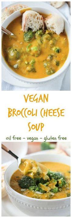 Vegan Broccoli Cheese Soup - vegan | gluten free | dairy free | oil free | butternut squash | nutrtional yeast | whole foods | potato | creamy |