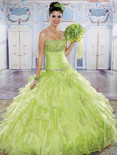 Green Quinceanera Dresses - Long Dress With Jeweled Details On Skirt