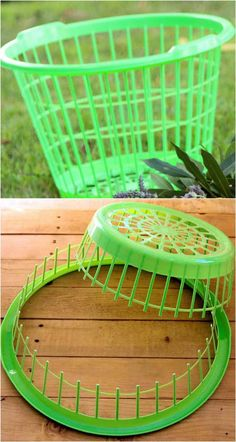 She cuts a Dollar Store laundry basket in half. Next? This is just awesome!