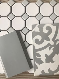 Grey and white, cement tile, master bath Bath Tiles, Bathroom Floor Tiles, Bathroom Renos, Master Bath Tile, Bathroom Remodeling, Upstairs Bathrooms, Grey Bathrooms, Brown Bathroom, Master Bath Remodel