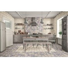 Sintra Patterned Porcelain Wall And Floor Tile from Tile Mountain only per tile or per sqm. Order a free cut sample, dispatched today - receive your tiles tomorrow House Tiles, Wall And Floor Tiles, Splashback Tiles, Walk In Shower, Blue Walls, Porcelain Tile, Kitchen Organization, Cleaning Wipes, Kitchen Design