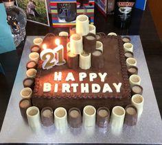 Boys 21st birthday cake chocolate shots with alcohol chocolate gnash!