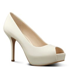 Nine West Qtpie Peep Toe Platform Pumps  (White, Size 9.5) - Brought to you by Avarsha.com