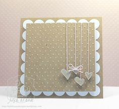 You can change the hearts into Christmas baubles, butterflies or just remove the strings & put those same objects in. You could change the colour to suit your recipient & put a sentiment in vellum over the top of the strings at the top if you wanted too.