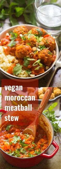 Chickpea balls are served over couscous and smothered in a mixture of spiced tomatoes, veggies and apricots to make this cozy vegan Moroccan meatball stew.