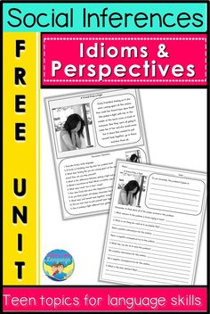 This pre/teen social skills free download will engage your older students while letting you teach multiple language skills in mixed groups. The teen topics and photos, free printable worksheets, idioms, problem solving and perspective taking skills are great for speech therapy, autism and special education. #socialskills #autism #speechtherapy #specialeducation #nonverbalcommunication