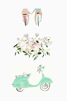 bicycles/ vespa/ flowers