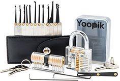 Yoopik Kit de Crochetage / Lockpicking Set Complet de 15 Pièces avec 2 Serrures D'entraînement – un Cadenas de Pratique Active, une Serrure…