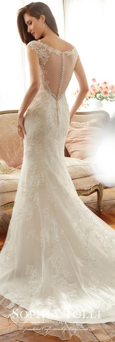 Sophia Tolli Spring 2017 Wedding Gown Collection - Style No. Y11704 Mimi - lace trumpet wedding dress with cap sleeves and illusion back