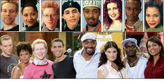 (upper row) original broadway cast of Rent in 1996 (lower row) film version in 2005 only 2 characters are different