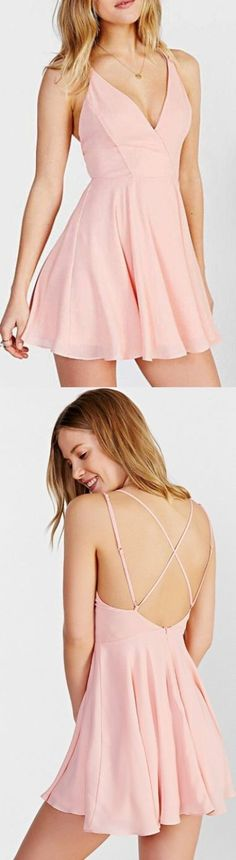 Cheap Comfortable Criss-cross Prom Dresses, Pink A-line/Princess Homecoming Dresses, Short Pink Homecoming Dresses, Lovely Pink V Neck Homecoming Dress,Simple Short Open Back Prom Party Dress