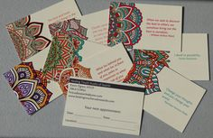 Your clients will remember their next session with these unique reminder cards. The mandala and inspirational quote on one side ensure your clients will keep the card long after their appointment. The flip side can be customized with your business information.