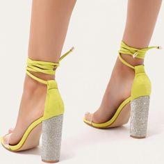 Glitter Block Heels in Lime Green