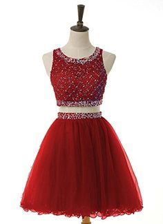 ChangLZ Womens Crew Squeins Beaded Short Prom Gowns Two Piece Homecoming Dresses -- Check this awesome product by going to the link at the image.