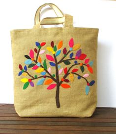 Handmade jute Tote bag, unique, sporty chic,  colorful tote bag,appliqued with a colorful tree